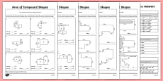 Area of Composite Rectilinear Shapes Differentiated Activity Sheet Pack