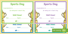Sports Day Effort Certificates