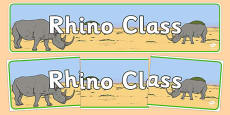 Rhino Themed Classroom Display Banner