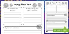 Australia New Year's Writing Frame Resolution