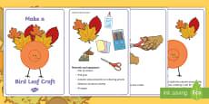 * NEW * Leaf Bird Craft Instructions