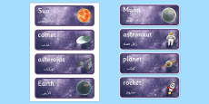 Space Topic Word Cards Arabic Translation