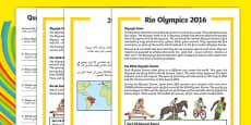 KS1 Rio Olympics 2016 Differentiated Reading Comprehension Activity Arabic Translation