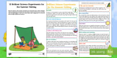 * NEW * Ten Science Experiments for the Summer Holidays Activity Sheet