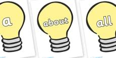 100 High Frequency Words on Light Bulbs (Plain)