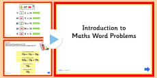 Introduction to Word Problems Maths PowerPoint
