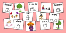 French Prepositions Matching Picture Cards