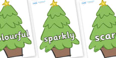 Wow Words on Christmas Trees (Plain)