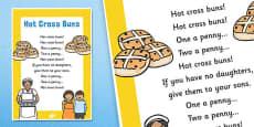 Hot Cross Buns Nursery Rhyme Poster