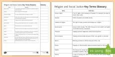 Religion and Social Justice: Key Words Activity Sheets