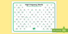 100 High Frequency Words Word Mat Polish Translation