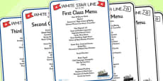 Titanic First Second And Third Class Role Play Menus