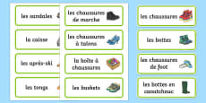 Shoe Shop Role Play Word Cards French