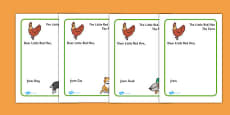 Little Red Hen Letter to Hen Writing Template