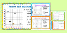Animal Grid References Maths Challenge Cards
