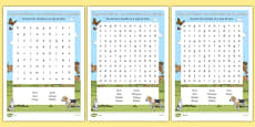 Farm Animals in Spanish Word Search