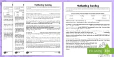 Mothering Sunday Cloze Passage Differentiated Activity Sheets