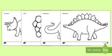 Dinosaurs Dictionary Colouring Sheet
