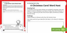A Christmas Carol Word Hunt Activity Sheet