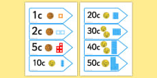 Number Shape Price Labels with Euros