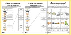 Spanish Tienes Mascotas Activity Sheet