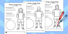 Design a Rugby Player Activity Sheet Arabic Translation