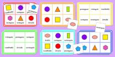 2D Shape Bingo Spanish