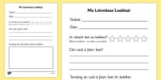 Book Review Writing Frame Gaeilge