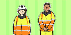 Road Worker Stick Puppets