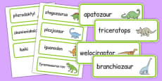 Dinosaur Word Cards Polish