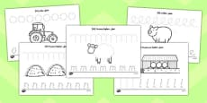 On the Farm Pencil Control Activity Sheets Arabic