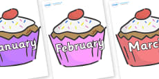Months of the Year on Cupcakes