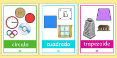 2D Shape Posters with Everyday Examples Spanish
