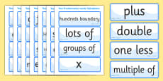 Calculations Vocabulary Cards  (Year 3)