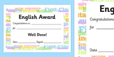 English Award Certificate