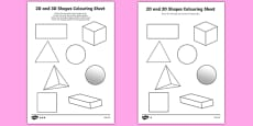 2D and 3D Shapes Colouring Sheets