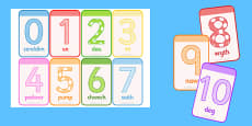 Numbers 0-10 Flashcards Welsh