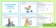 Fractions Word Problem Challenge Cards