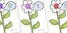 Numbers 0-50 on Flowers