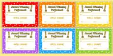 Award Winning Performance Certificates