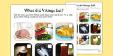 What Did Vikings Eat Photo Activity Sheet