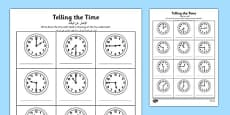 O\'clock, Half Past and Quarter Past Times Activity Sheet Arabic Translation
