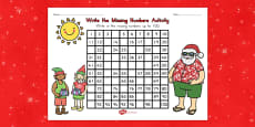 Australia - Christmas Missing Numbers Number Square