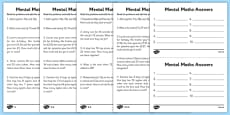 Mental Maths Adding Differentiated Activity Sheets