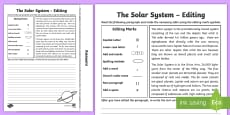 The Solar System Editing Passages Activity Sheet