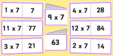 7 Times Table Folding Cards