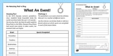 What An Event! Activity Sheet