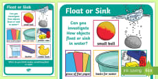 Science Floating and Sinking Investigation Prompt Display Poster