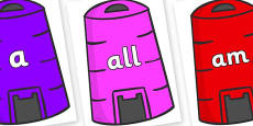 Foundation Stage 2 Keywords on Recycling Bins
