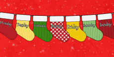 Christmas Advent Calendar Mini Stocking Bunting With Days of the Week